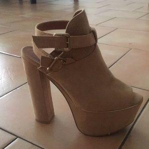 Shoes - chunky peep toe heels